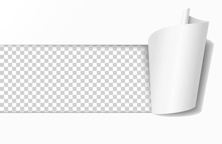 Foro strappato in carta bianca. Ampio foro quadrato realistico con arricciatura della carta e sfondo trasparente nella finestra risultante. illustrazione vettoriale