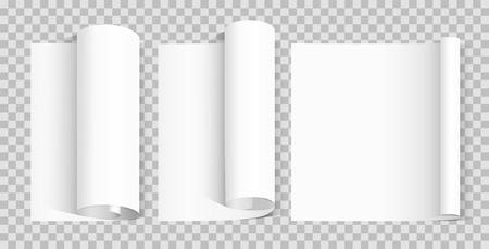 Gewelltes leeres Papierblatt. Verschiedenes Rollenpapier auf transparentem Hintergrund. Gestaltungselement Poster, Banner, Einladung, Broschüre. Vektor-Illustration Vektorgrafik