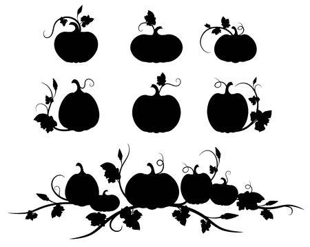 Pumpkin. Black silhouette. Isolated silhouette vegetable,  leaves, flower and seeds. Vector illustration Çizim