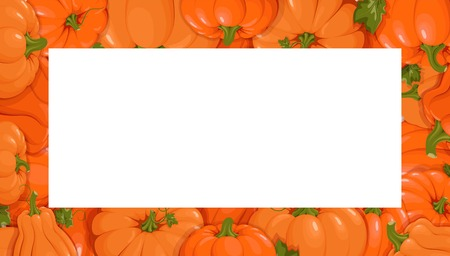 Pumpkins. Set orange pumpkins. Horizontal banner. Template  presentations, invitations, congratulations, happy Thanksgiving, harvest festival, autumn poster design. Vector illustration