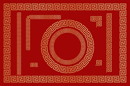 Chinese traditional ornament. Set of  seamless elements, frames, round frames and  borders. Template design  Chinese New Year calendar, invitation, booklet, traditional festive decoration. Vector