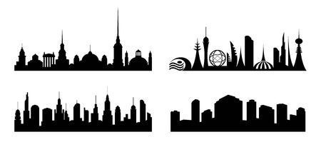 City.  Set  silhouettes  cities  various architecture. Modern, vintage and metropolis. Isolation. Vector