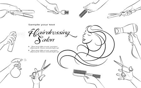 Hairdressing salon. Barbershop and Beauty hair. Hands Barber cut, stack, curl, dye their hair.  Horizontal banner.  Isolation. Vector illustration Çizim