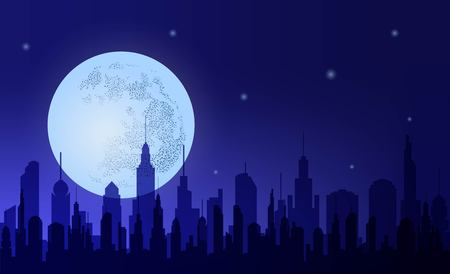 Metropolis. Silhouette  night city against the background  sky and  moon. Horizontal banner. Vector illustration