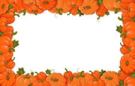 Pumpkins. Orange vegetable pumpkins. Horizontal frame. Template  presentations, invitations, congratulations, happy Thanksgiving, harvest festival, autumn poster design. Vector illustration Çizim