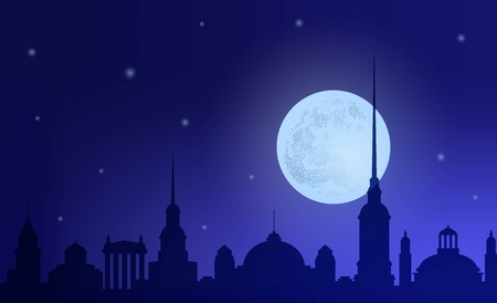 Silhouette  night city against the background  sky and  moon. Silhouette  buildings  vintage and historical architecture. Horizontal banner. Vector illustration