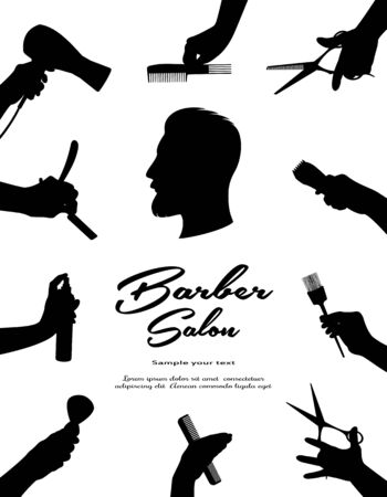 Barbershop.  Beauty hair and Hairdressing salon. Beauty of hair, beard and mustache men.  Hands  barber cut, shave, style hair. Black isolated silhouette. Vector illustration Çizim