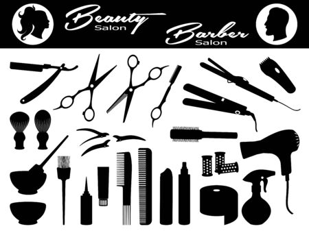 Beauty salon and  Barber salon. Set hairdressing related symbols. Hairdressing equipment and accessories.  Design elements of beauty salons and hair salons. Isolated black silhouette. Vector illustration Çizim
