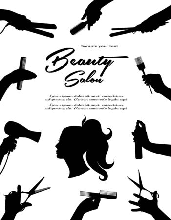 Beauty salon.  Barbershop and Beauty hair. Beauty Hair Women.  Hands Barber cut, stack, curl, dye their hair. Black isolated silhouette. Vector illustration