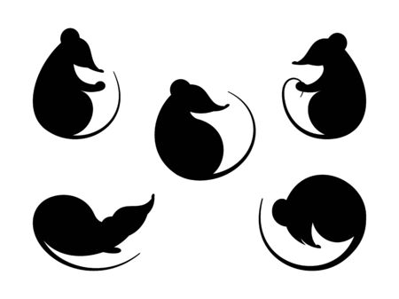 Rat. Black silhouette. Set  different silhouettes  rats and mice. Symbol  Chinese New Year, animal rodent. Isolation. Vector