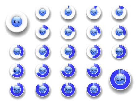 Set of circle percentage diagrams  from 0 to 100. Download progress bar. Design element of the website, user interface,  infographic - indicator  blue color. Isolation. Vector illustration Banco de Imagens - 131350845
