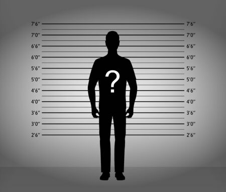 Police lineup. Mugshot silhouette of anonymous man with question mark. Black silhouette on background. Vector illustration