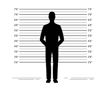 Police lineup. Mugshot background with silhouette of  anonymous man. Black silhouette on white background. Isolation. Vector illustration