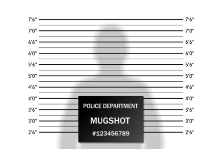 Police lineup or mugshot background with silhouette of  anonymous person. Isolation. Vector illustration Çizim