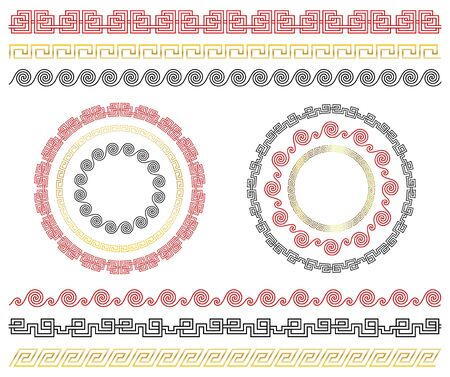 Chinese traditional ornaments. Set of seamless borders and frames.  Template design Chinese new year calendar, invitation, booklet, traditional festive decoration. Isolation. Vector