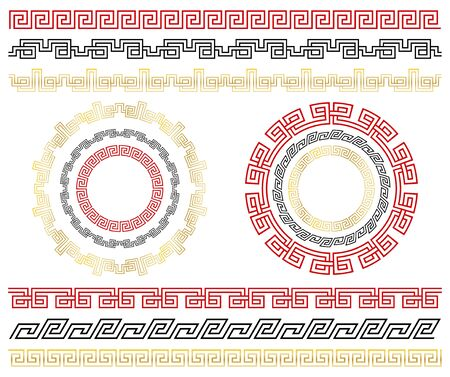 Chinese traditional seamless ornaments. Set of  borders and frames.  Template design Chinese new year calendar, invitation, booklet, traditional festive decoration. Isolation. Vector Çizim