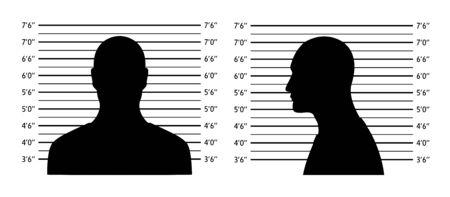 Gamme de policiers. Fond de Mugshot avec des hommes de silhouette. Silhouette noire sur fond blanc. Devant et profil de l'homme Isolement. Illustration vectorielle
