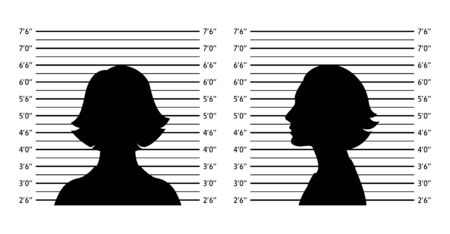 Police lineup. Mugshot background with silhouette women. Black silhouette on white background. Front and profile of  woman. Isolation. Vector illustration Çizim