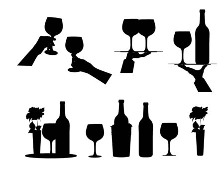 Wine.  Set  different options  wine bottle and glass, wine bottle in bucket with ice.  Hands holding glasses of wine. Elements  festive design. Isolated. Black silhouette. Vector illustration Çizim