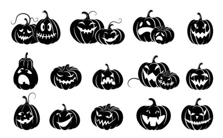 Set of halloween pumpkins.  Variety  terrifying scary pumpkins. Black silhouette isolated. Template  design packing,  background, textiles of festive  for Halloween. Vector illustration
