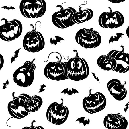 Halloween. Set  scary pumpkins and bats. Black silhouette isolated. Seamless pattern. Template  design packing,  background, textiles of festive  for Halloween. Vector illustration