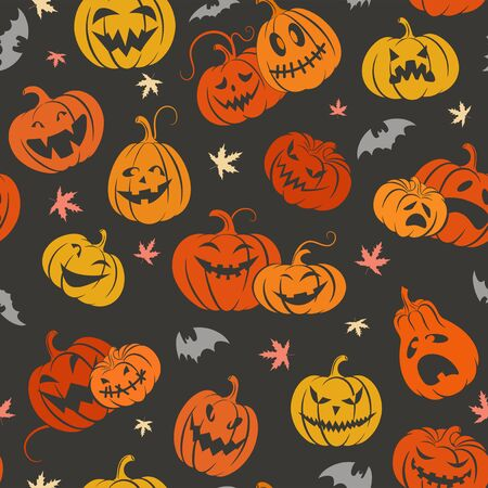 Halloween. Set  scary pumpkins and bats.  Seamless colorful pattern. Template  design packing,  background, textiles of festive  for Halloween. Vector illustration