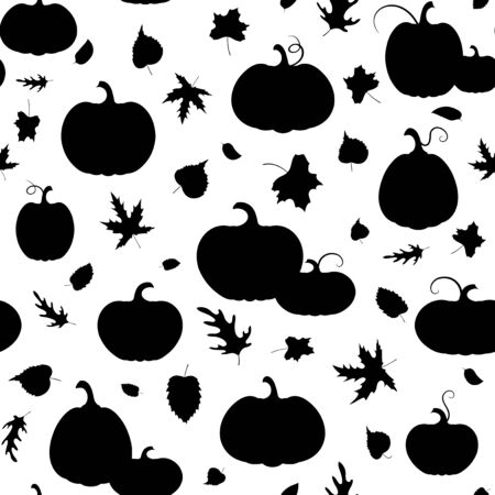Autumn. Set of varied pumpkins and autumn leaves.  Black silhouette isolated. Seamless pattern. Template  design packing,  background, textiles. Vector illustration