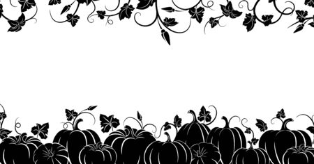 Pumpkin. Black silhouette. Horizontal border. Set of silhouettes of different pumpkins. Isolated silhouette vegetable,  leaves, flower and seeds. Vector illustration