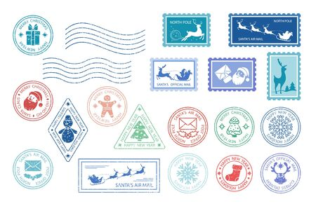 Merry Christmas stamp. Santa Claus postage stamps. Christmas mail. Set of different Christmas stamps. Santa's Air Mail. Isolation. Vector illustration Stockfoto - 131351216