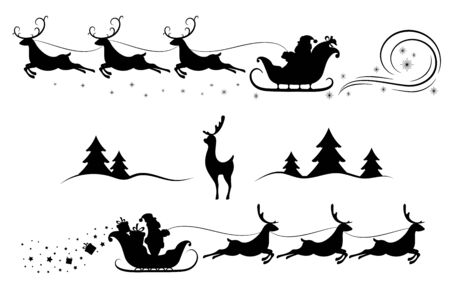 Santa Claus on sleigh with reindeer. Merry Christmas and New year. Design element  poster, banner, invitation, congratulations, postcards. Black silhouette. Isolation. Vector illustration