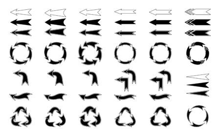 Arrows. Vector arrows icons set. Design element. Isolated black silhouette and contour on white background Ilustração