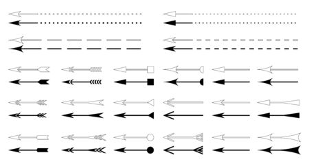 Arrows. Vector arrows icons set. Design element. Isolated silhouette and contour on  white background