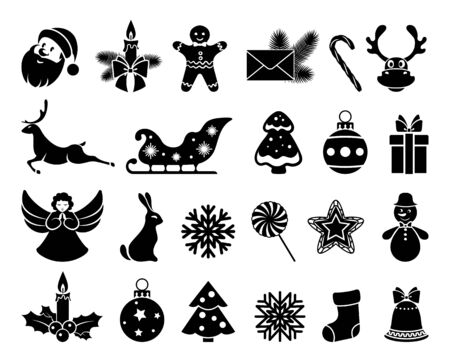 Merry Christmas and Happy New year. Set icon Christmas and new year. Element of festive background design invitations, greetings, banners, posters. Isolation. Vector