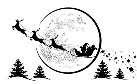 Santa Claus in sleigh and reindeer sled on background of full moon. Santa Claus flying  and gives gifts.  Merry Christmas and happy New year. Black silhouette . Isolation. Vector illustration Çizim
