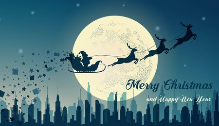 Santa Claus in sleigh and reindeer sled on background of full moon. Santa Claus flying over the city and gives gifts.  Merry Christmas and happy New year. Vector illustration  Çizim