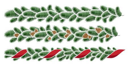 Christmas garlands. Christmas winter seamless garland.