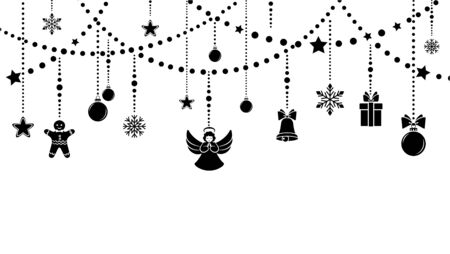 Christmas winter holiday decoration. Set elements and garlands. Design element festive poster, greeting cards, invitations. Isolated black silhouette. Vector illustration