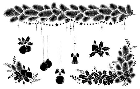 Christmas winter holiday decoration. Set elements. Christmas wreath, garland, candles and bell. Design  festive poster, greeting cards, invitations. Isolated black silhouette. Vector illustration