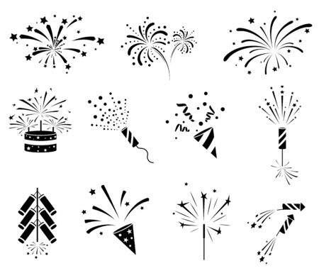 Firework  icon set. Firecracker, petard and stars. Happy New year, Holiday and party firework icons collection. Black silhouette isolated on white background. Vector illustration