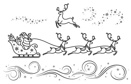 Santa Claus on sleigh with reindeer. Christmas decoration set.  Merry Christmas and New year. Design element  poster, banner, invitation, postcards. Black isolated outline. Vector illustration