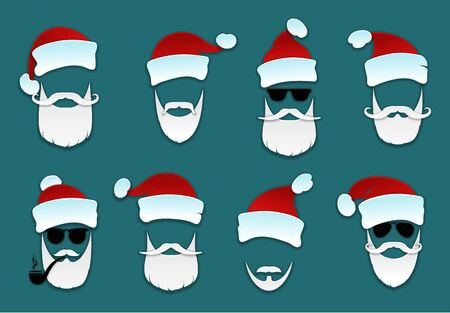 Santa Claus.  Set Santa Clauses with  variety of caps, mustaches and beards. Christmas icons set on blue background. Vector illustration