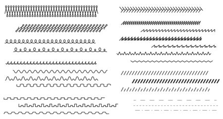 Set lines. Wave, zigzag and ornamental lines in vintage style. Seamless line ornaments. Template frames, borders and design background. Isolation. Vector