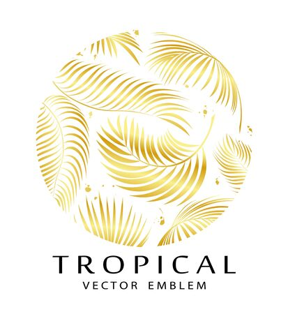 Tropical golden round emblem. Exotic logo with palm leaves. Abstract tropical sign design template. Isolation. Vector illustration