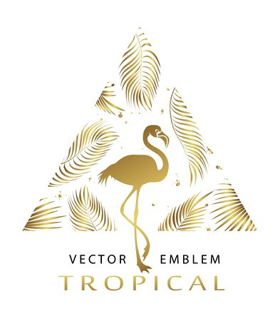 Tropical golden  triangular emblem. Exotic logo with flamingos and palm leaves. Abstract tropical sign design template. Isolation. Vector illustration