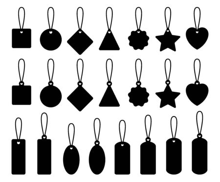Price tag blank set. Collection of empty labels for discounts, sales, gifts, promotion.  Pattern of  badge with  rope. Shopping label design element. Isolated black silhouette. Vector illustration