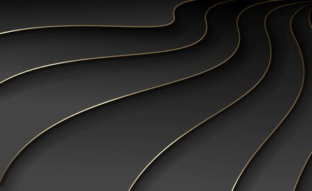 Waves of black paper with gold. Volumetric curves with overlapping and shadow. Modern exquisite abstract background. Background template  banner, poster, cover and presentation. Vector illustration Çizim