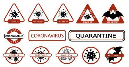 Coronavirus icon set for infographic or website. New epidemic (2019-nCoV). Viral danger and warning signs of epidemic and quarantine. Isolation. Vector illustration Çizim