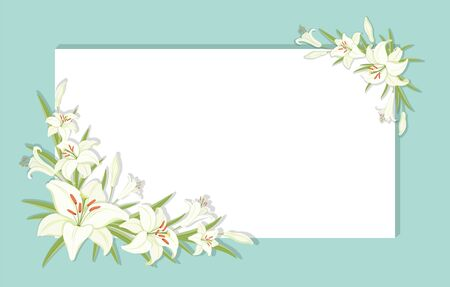 Floral background. Square frame decorated with white lilies flowers. White lilies with green foliage. Template for greeting cards, invitations. Empty space for your text. Vector illustration Illustration
