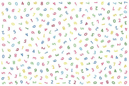 Numbers abstract background. Seamless pattern. Cover design template, background, t-shirt, wrapping paper. Color numbers on white background. Isolated. Vector