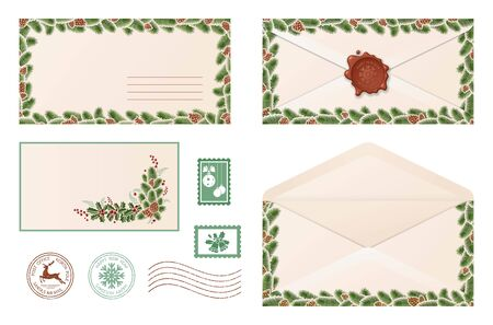 Air mail envelope. Merry Christmas and happy New year. Christmas mail. Envelope with wax seal and different stamps. Winter holiday greetings. Isolation. Vector illustration